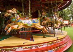 Gallopers in Victoria Park. Newbury, part of the Mason fairground Painted Pony, Painted Signs, Amusement Park Rides, Fun Fair, Merry Go Round, Victorian Furniture, Carousel Horses, Childrens Hospital, Sideshow