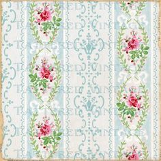 Instant Download no.412 Roses Stripes 13 x13 Antique Wallpaper Collage Sheet Tattered Vintage 412. $5.75, via Etsy.