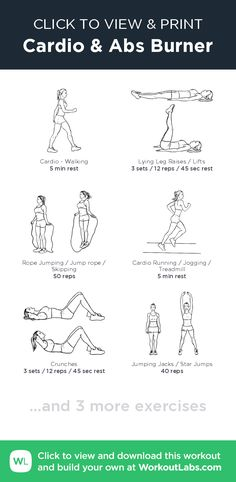 Cardio & Abs Burner – click to view and print this illustrated exercise plan created with #WorkoutLabsFit