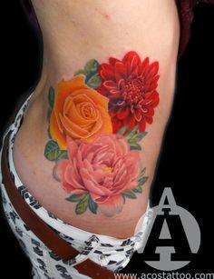 Tattoos: Tattoo Designs & Ideas by Andres Acosta Side Tattoos, New Tattoos, Cool Tattoos, Piercing Tattoo, Piercings, March Birth Flowers, January Flower, Marigold Tattoo, Carnation Tattoo