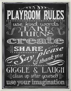Playroom Rules #signs #playroom