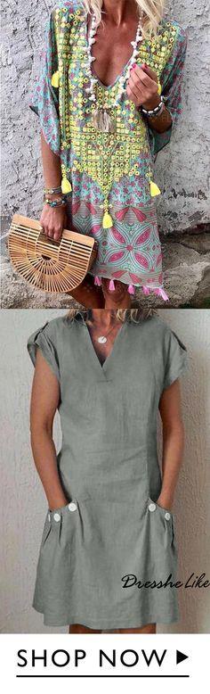 off, Shirt Collar V Neck Shift Plus Size Multi-color Summer Dresses - Boho Fashion Boho Fashion, Autumn Fashion, Fashion Outfits, Womens Fashion, Plus Sise, Mode Plus, Casual Dresses, Summer Dresses, Chic Dress