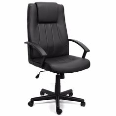 Executive Office Chair Leather Hydraulic Swivel Lift, Black Bargain