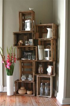 Crates stacked to make bookcase