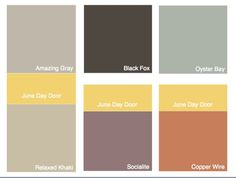 Click to see.  Color Pallete Round 1 Amazing Grey or Relaxed Kahki for all over neutral.  Black Fox for accent in powder and master bedroom.  Oyster Bay for Master Bath.  Socialite for Entry or Main Bath.  Copper Wire for Island and mudroom.