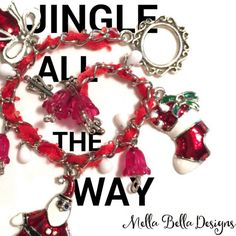 Wearing my favourite Christmas bracelet always puts me in a festive mood!  I alternated large and small dangly charms for plenty of jingly movement!  #mellabelladesigns #handmadejewelry #christmasjewelry #charmbracelet