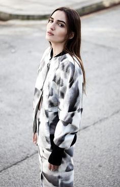 Jacket & skirt with abstract monochrome print, urban chic fashion details // House of Sunny