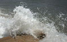 Waves crashing over the rocks