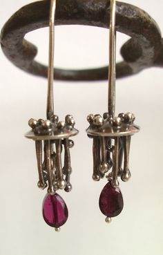 Earrings - Sterling Silver - Garnet - Spoked Column - Silversmith - RMD Designs