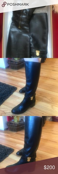 Beautiful MK Hamilton black leather boots Beautiful condition only worn a couple times Michael Kors Shoes Heeled Boots