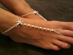 Starfish foot jewelry barefoot sandals toe thongs Fancy-Feet. Etsy
