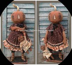 Primitive+Doll+Pattern+Pumpkin+Sass+and+Dolly+by+SweetMeadowsFarm