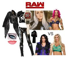 """Promo + Airica Monroe & Sasha Banks vs Charlotte & Nia Jax (RAW 3/27/17)"" by atomic-blaster ❤ liked on Polyvore featuring Vision and WWE"