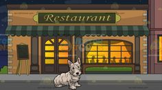 A Frail Scottish Terrier Dog With Outside A Fancy Restaurant Background :  A small dog with long shaggy white fur black nose and eyes standing ears sits on the floor to rest and Outside a restaurant during a starry night sky with pale orange walls beige bricks moss green awning and classic windows and doors silhouettes of people eating inside the restaurant are projected via the classy lighted window