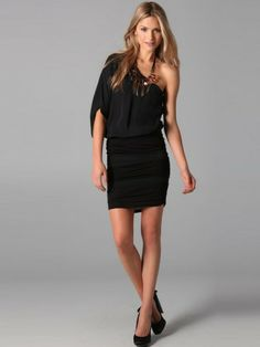 Sheath / Column One Shoulder 3/4-Length Short / Mini  Chiffon Black Little Black Dresses