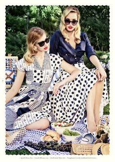 Lena Hoschek  |  Spring/Summer 2014 — Lunch Blouse navy — Girlfriend Skirt dots — Sunglasses Lovely Ladybird dark tortoise —