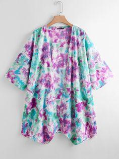 Kimono avec imprimé | Mode en ligne | SHEIN FRANCE Kimono Jacket, Kimono Top, Lingerie Sleepwear, Types Of Sleeves, Boho Fashion, Cover Up, Plus Size, Tops