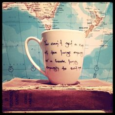 Coffee Cup Hand Inked Mug Book and Tea Lover C S Lewis Quote. $15.00, via Etsy.