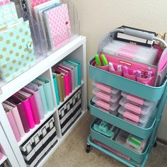 """""""What's in my Raskog cart"""" will be up on my blog this week. Be sure to subscribe to my blog for this craft room series, product links, and how I organize my office and planner supplies! www.hautepinkfluff.com #plannerholic #craftygirl"""