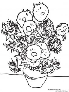 Sunflowers By Vincent Van Gogh ~ coloring page