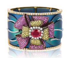 Andreoli titanium cuff Bracelet with a Burmese Ruby, Diamonds and Pink and Yellow Sapphires.