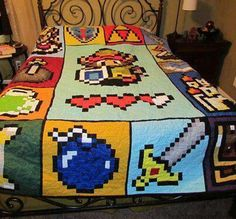 Zelda Quilt Pattern – 72 x 90 – Pattern only Makes me want to learn how to quilt! Zelda Quilt Pattern 72 x 90 by McFrogling on Etsy Pac Man, Geeks, Camas Queen Size, Geek Home Decor, Zelda Video Games, Video X, Space Invaders, Geek Culture, Legend Of Zelda