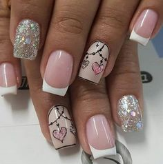 Easy Spring Nail Designs Art Ideas for Short Nails Valentine's Day Nail Designs, Short Nail Designs, Nail Designs Spring, Pink Nail Art, Glitter Nail Art, Pink Nails, Heart Nail Art, Heart Nails, Cute Nails