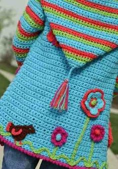 Discover thousands of images about Crochet Jacket Lots Of Gorgeous Free Patterns Crochet Toddler, Baby Girl Crochet, Love Crochet, Crochet For Kids, Kids Knitting Patterns, Baby Knitting, Crochet Patterns, Crochet Baby Sweaters, Crochet Clothes