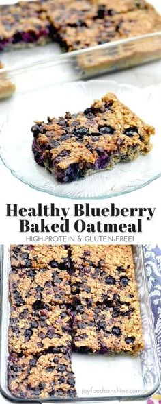 Baked blueberry oatmeal recipe! The addition of Greek yogurt and almond meal make this a healthy & protein-rich breakfast! Plus it's gluten-free, refined-sugar free and feeds a crowd!
