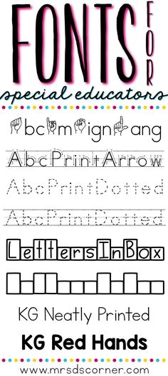 A list of 8 special education teacher friendly fonts. Blog post at Mrs. D's Corner.