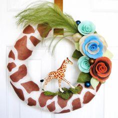 Items similar to Giraffe - The Original Felt Yarn Wreath on Etsy Giraffe Decor, Giraffe Nursery, Giraffe Print, African Safari, Diy Wreath, Wreath Crafts, Baby Shower Parties, Shower Party, Giraffes