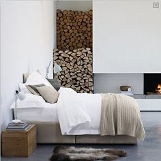 Awesome 36 Relaxing Neutral Bedroom Designs : Awesome 36 Relaxing Neutral Bedroom Designs WIth Fireplace And White Brown Bed Pillow Blanket And Ceramic Floor And Wooden Side Table