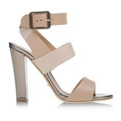 Sergio Rossi Leather Block Heel Sandal ($348) ❤ liked on Polyvore