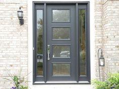 8 Ft 2 side light Pulse Door by Therma Tru modern-front-doors Modern Exterior Doors, Modern Front Door, Modern Garage, Exterior Front Doors, House Front Door, Front Door Design, House Doors, Front Door Decor, Entry Doors