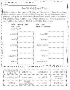 Prefix Match and Mark - Aligns with Fundations Level 2 Unit 5 Make It Fun activity