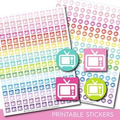 TV stickers, tv planner stickers, tv printable stickers, Movie stickers, Film stickers, Tv show stickers, Television stickers, STI-139
