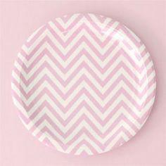 Chevron Pink Large Party Plate, chevron paper plates