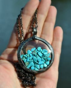 Large Turquoise Necklace, Shaker Necklace, Floating Jewelry, Natural Turquoise Moves Freely, Pocket Watch Crystals encase Turquoise (2749)