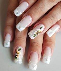 Bride Nails, Wedding Nails, Cute Acrylic Nail Designs, Nail Art Designs, Gorgeous Nails, Pretty Nails, Square Oval Nails, Nails Only, Flower Nail Art