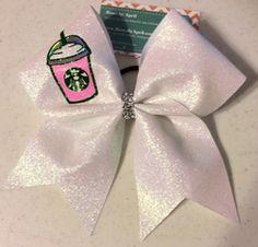Starbucks Frappe Frappuccino Full Glitter Cheer Bow and btw im working on making one of these ! Volleyball Bows, Cheerleading Bows, Cheer Stunts, Cheer Dance, Softball Headbands, Cute Cheer Bows, Big Bows, Cheer Quotes, Cheer Hair