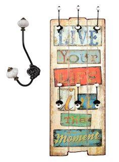 "Wandgarderobe Flurgarderobe ""Live your Life"" Hakenleiste Holz 100 x 40 cm im Shabby Vintage Landhaus Stil"