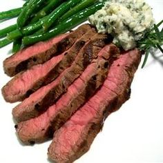 Grilled Flat Iron Steak with Blue Cheese-Chive Butter Allrecipes.com
