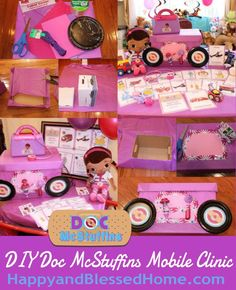 DIY Doc McStuffins Mobile Clinic Games and fun activities for a fun and memorable Doc McStuffins Party - free printables, playing doctor, dressing-up in costumes, hosting a post-slumber-party breakfast, games, and our very own homemade mobile clinic. HappyandBlessedHome.com  #JuniorCelebrates #shop http://www.happyandblessedhome.com/games-and-fun-activities-for-a-doc-mcstuffins-slumber-party/