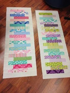 * most popular table runner - repinned so many times! Idea for scraps quilt or table runner gift idea. No source given, but similar to Jenny Doan's Zipper Quilt.