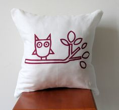 Owl Decorative Pillow Cushion Cover Screen by AnyarwotDesigns, $20.00