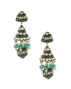 Sparkling Green Lac Jhumki Ball Earrings | Rs. 410 | http://voylla.com