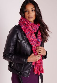 Chunky Knitted Scarf Pink, Pink