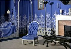 Jeanne Lanvin, fashion designer, developed a particular shade of blue, known as Lanvin blue, and eventually opened her own dye factories in 1923 to secure exclusivity of her color formulas. Her 1920s bedroom, designed all in Lanvin blue, by Armand Rateau has been preserved intact in the Musèe des Arts Dècoratifs in Paris.