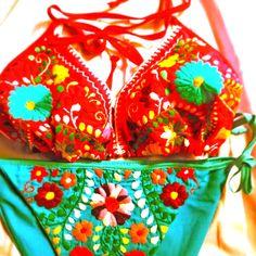 Mexican Love embroidered bikini floral hippie bohemian chic