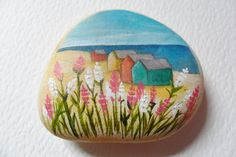Reserved for VICKI Valerian flowers by the beach - Cornwall beach stone paperweight - Hand painted miniature art
